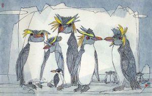 Li Fuyuan, Emperor Penguins, 2008, ink & colour on paper, 48.5 x 86cm