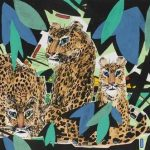 Li Fuyuan, Leopards Family, 2008, ink & colour on paper, 55.5 x 97.5cm