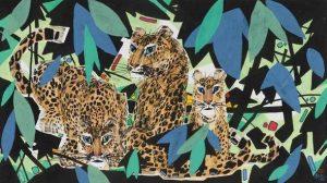 Li Fuyuan, Leopards Family, 2008, ink & colour on paper, 55.5 x 97.5cm